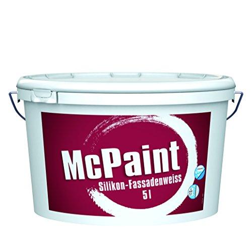 McPaint Silikon Fassadenweiß für außen, mit Lotus-Formel und extra UV-Schutz, weiß, 5 L