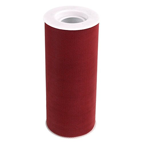 Ben Collection 6 Inch X 25 Yards Tulle Fabric Rolls for party and craft (Burgundy)