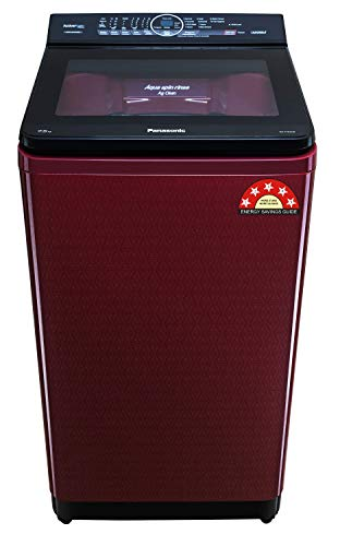 Panasonic 7.5 Kg 5 Star Built-In Heater Fully-Automatic Top Loading Washing Machine (NA-F75AH9RRB, Wine Red, Active Foam System)