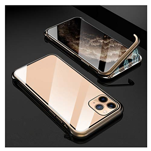 ErYao for iPhone 11Pro 5.8inch 9H Tempered Glass Back Cover, Magnetic Adsorption Phone Case with Metal Bumper, Anti-Scratch, Support Wireless Charging Cover (Gold)