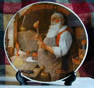 EDWIN M. KNOWLES NORMAN ROCKWELL'S SANTA IN HIS WORKSHOP CHINA PLATE CHRISTMAS 1984 #11318C-INCLUDES CERTIFICATE by Norman Rockwell