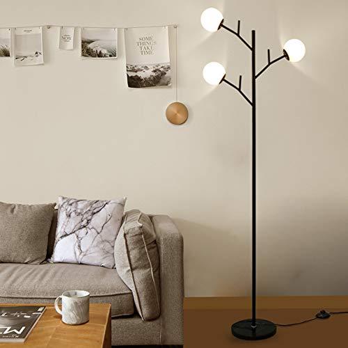 WYHYQY Árbol Industrial Lámpara de Piso, 3-Light Pole Pantalla de Cristal lámpara...