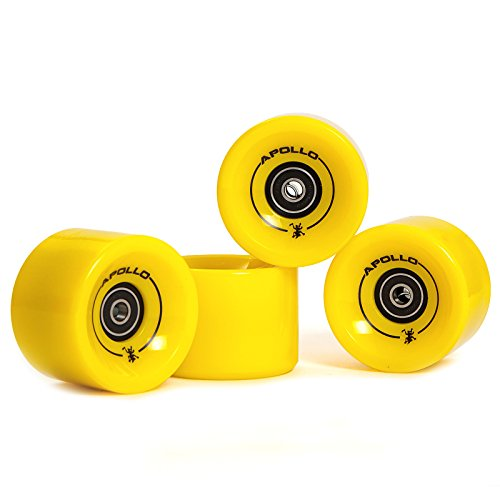 Apollo Longboard Rollen, Wheel Set inkl. Kugellager, 78A - 70mm, Farbe: Solid Yellow/Gelb