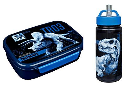 Dinosaurier Brotdose und Trinkflasche blau