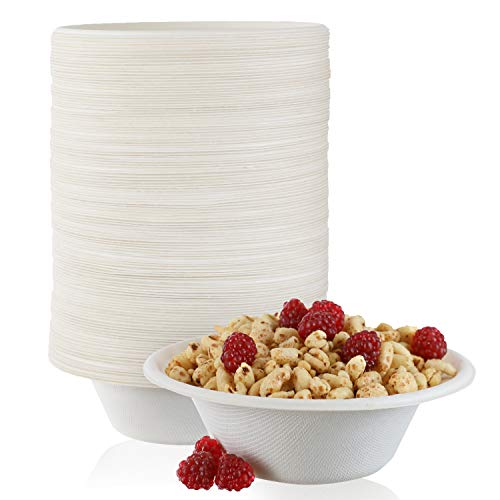 125 Pack - Paper Bowls, 12 oz Disposable Bowls 100% Compostable Biodgradble Bowl, Made from...