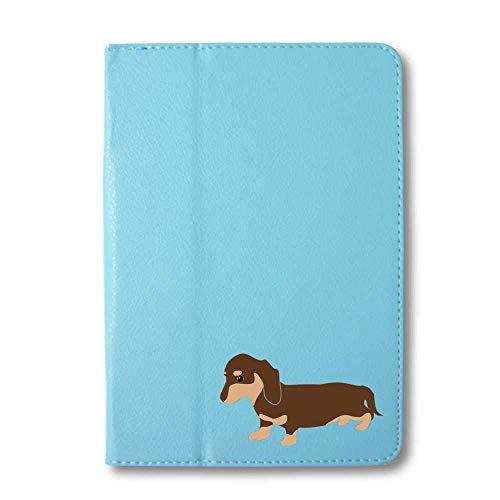 ダックスフンド チョコ&タン タブレットケース iPad 手帳型 iPad Pro 9.7 ライトブルー 犬 柴犬 黒柴 日本犬 ペット 動物 アニマル タブレットカバー タブレット ブック型 iPadPro9.7 アイパッド 水色 Fave フェイブ f
