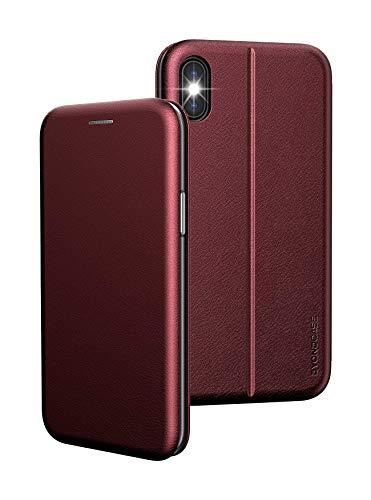 BYONDCASE iPhone X Hülle Rot, iPhone XS Hülle [Deluxe Leder Flip-Case Klapphülle] Handyhülle iPhone X Fullbody 360 Grad Rundumschutz Ultra Slim kompatibel mit dem iPhone 10 Hülle X/XS