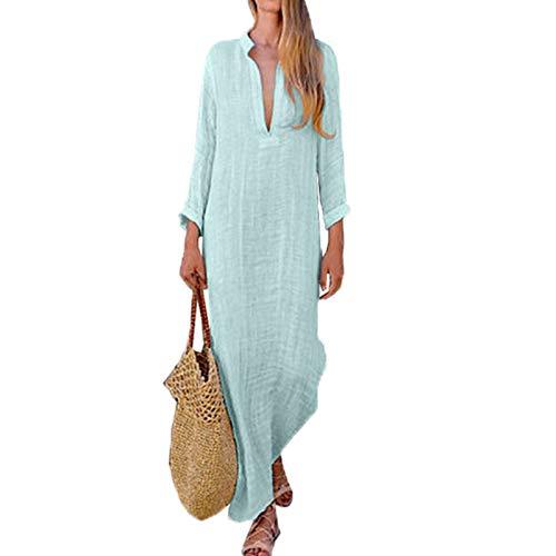 MEILINVREN Kleider,Frauen Gypsy Kleider Robe Langarm V-Ausschnitt Ethnischen Boho Baumwolle Sommer Strand Maxikleid Trend