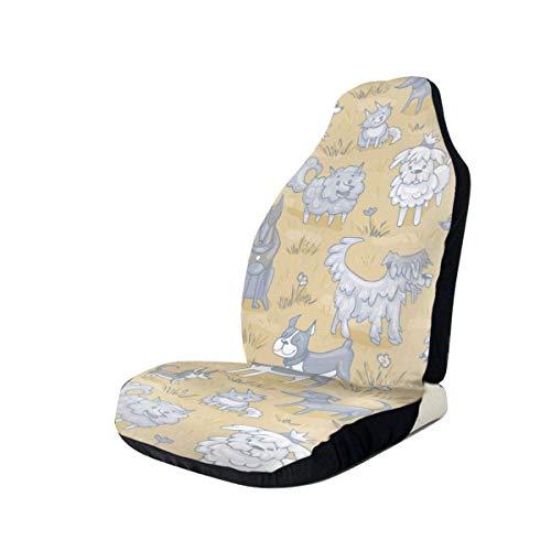 JONINOT Fundas para Asiento de Coche Manta de sillín elástica de Perro de Dibujos Animados con Asiento Universal para la mayoría de Coches/Camiones/SUV, 2 Piezas