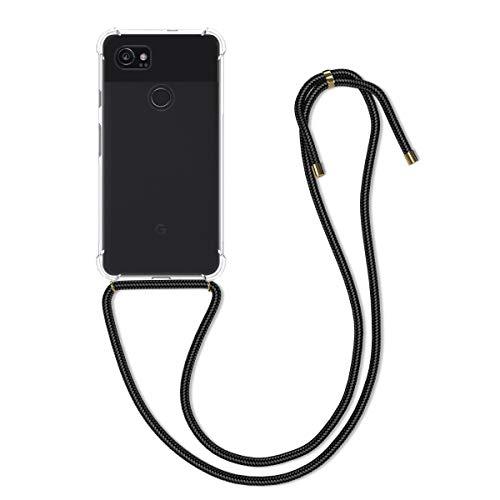kwmobile Carcasa Compatible con Google Pixel 2 XL - Funda Transparente TPU con Cuerda para Colgar - Transparente