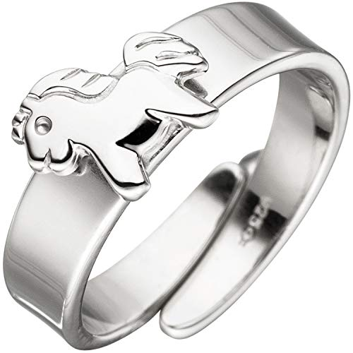 JOBO Kinder-Ring aus 925 Silber mit Pferd variabel einstellbar Größe 46