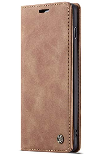 Custodia Copertura Samsung S10, S10Plus, S10e Flip Cover in Pelle, Porta Carte Protettiva Portafoglio Wallet Case (S10P, Marrone)