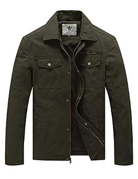 WenVen Men s Flat Collar Canvas Cotton Military Jacket  Army Green,2Xl