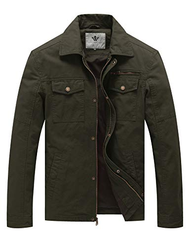 WenVen Men's Flat Collar Canvas Cotton Military Jacket (Army Green,2Xl)