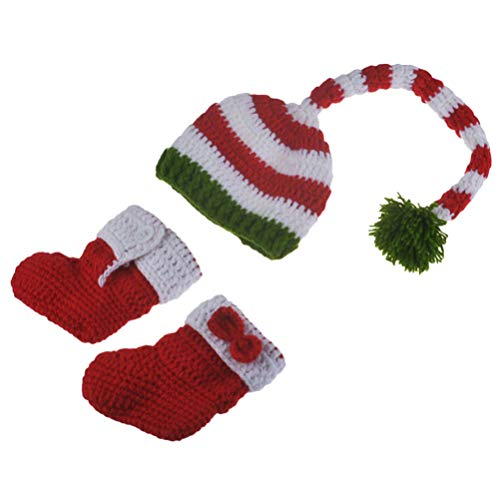 NUOBESTY Gorro de Ganchillo de Bebé Elfo de Navidad Cola Larga Crochet Trajes de Bebé Gorro de Punto Gorro de Punto Gorros de Media Ropa de Apoyo de Fotografía de Recién Nacido Accesorio