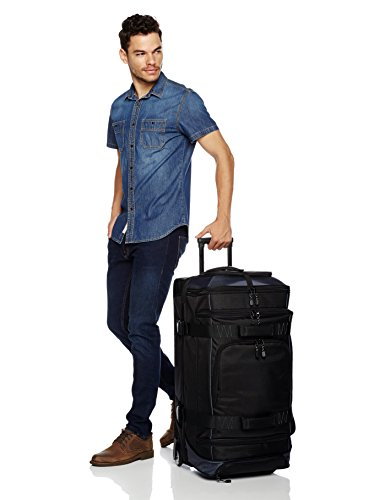Amazon Basics Ripstop Rolling Travel Luggage Duffle Bag With Wheels - 32.5 Inch, Black