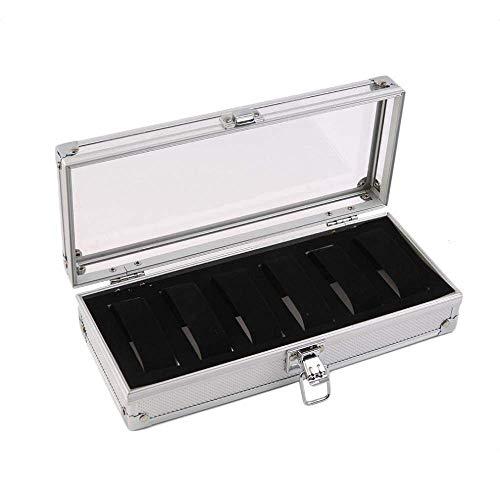 GUOCAO Caja de almacenamiento de aluminio con 6 ranuras de inserción de la caja de la joyería del reloj de la caja de la exhibición