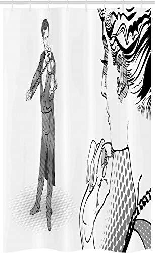 ABAKUHAUS Classical Art Douchegordijn, Spelen van de mens Viool, voor Douchecabine Stoffen Badkamer Decoratie Set met Ophangringen, 120 x 180 cm, Charcoal Grey White