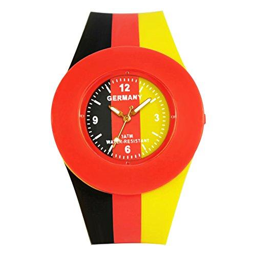 ELLEMKA® - Amaze-324 orologio analogico 'Germany', con movimento al quarzo digitale, nei colori nero, rosso, oro, braccialetto in silicone.