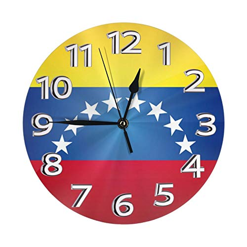 Venezuela - Reloj de pared con diseño de la bandera de la bandera de la Unión Europea (25 cm de diámetro)