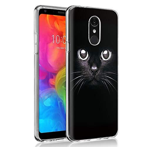 """Cover LG Q7, Eouine Custodia Cover Silicone Trasparente con Disegni Ultra Slim TPU Silicone Morbido Antiurto 3D Cartoon Bumper Case per Huawei LG Q7 2018 5,5"""" Smartphone (Gatto Nero)"""