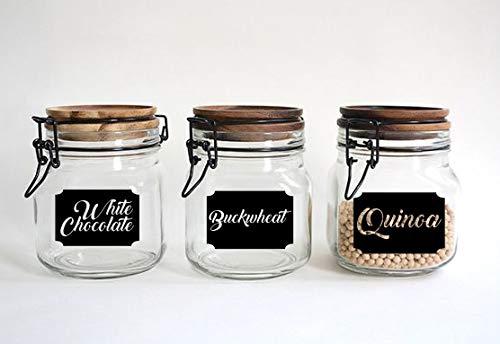 EricauBird Set mit 3 Gläsern, Vinyl, weiße Schokolade, Buchweizen, Vinyl, Quinoa, Küchenaufkleber, Aufkleber für Gläser, Flasche, Vinyl, einfach anzubringen und zu entfernen