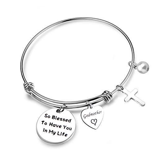 LQRI Godmother Gifts Godmother Bracelet So Blessed to Have You In My Life Expandable Wire Bangle Religious Jewelry Baptism Gift (bangle bracelet)