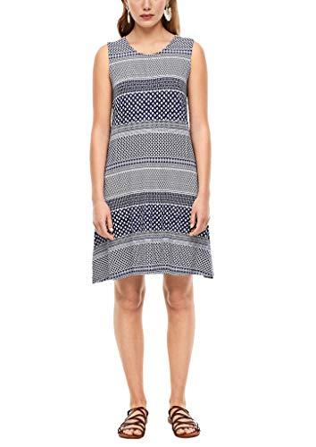 s.Oliver Damen Kleid mit Rückenausschnitt Dark Blue AOP 36