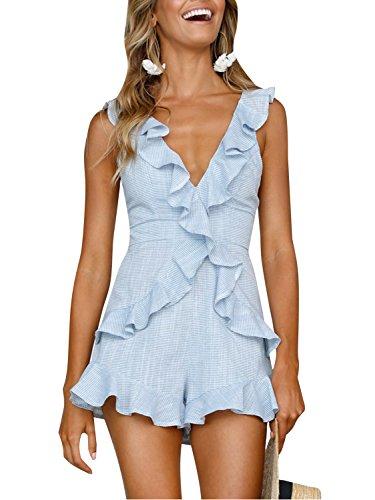 Simplee Women's Summer Beach V Neck Ruffle Sleeveless High Waist Jumpsuit Romper, Light Blue, 4/6, Small