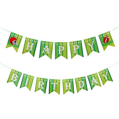 Amosfun Alles Gute zum Geburtstagfahne des Fußballs Themenorientiertes Sportspieltagesgirlanden-Flaggenzeichen für Kinderthemageburtstags-Babyparty-Partyversorgungen