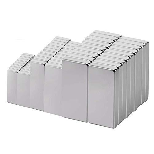 Jewan - 60 imanes de neodimio, combinaciones de tamaños múltiples con caja de almacenamiento, para colgar papel, carpeta de fotos, recetas sobre marco magnético o sobre frigo, pizarra magnética