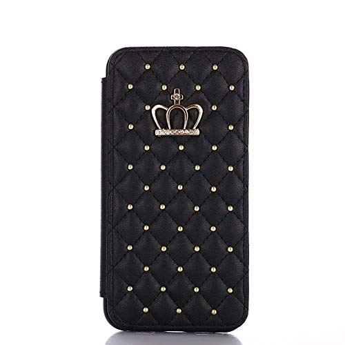 DFYYQ Leather Wallet For iPhone 6 6s 7 8 11 Plus X XR Pro Max Case Glitter Diamond Crown Queen Style Cases Flip Cover Mobile Phone (Color : Black, Material : For iPhone 6 6s Plus)
