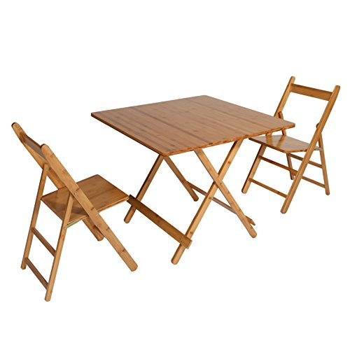 UNICOO - Bamboo Square Folding Table, Folding Deck Table, 5 Piece Card Table Patio Table Dining Table and Chairs Set (T80-S)