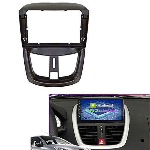 Reunion Adaptador de Ajuste de Audio de Fascia de 9 Pulgadas Audio Kits de Panel de navegación Coche DVD Frame Dashboard Fit para Peugeot 207 2002-2010 (Color Name : Black)