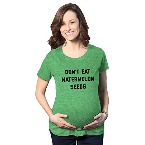 Crazy Dog Tshirts - Maternity Don't Eat Watermelon Seeds Tshirt Funny Baby Bump Summer Pregnancy Tee (Heather Green) - S - Femme
