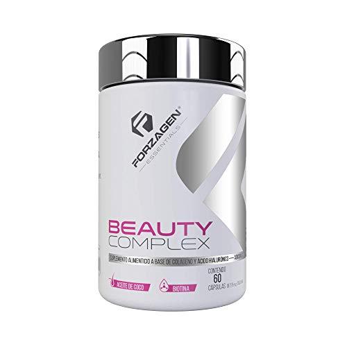 Forzagen Essentials Beauty Complex - 60 Capsulas | Colageno Hidrolizado | Acido Hialuronico | Biotina | Vitaminas | Aceite de Coco | Suplemento Para Mujer