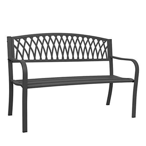 Mendler HWC-F45 Tuinbank, 2-zits, gepoedercoat staal zwart