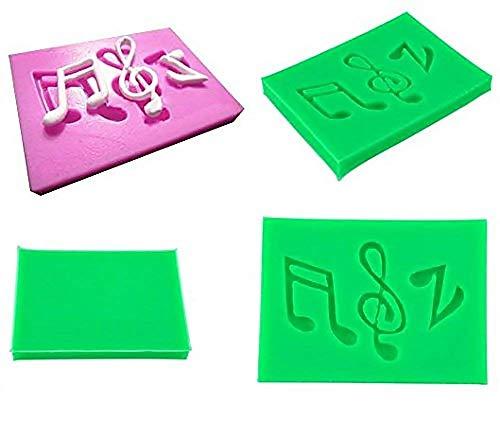 Stampo in silicone per uso alimentare di due note musicali e una chiave di violino - Pasta di zucchero - Fondenti - Torte - Pancake - Muffin - Decorazioni