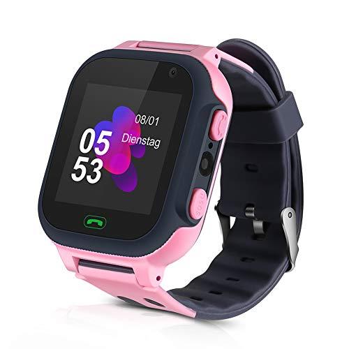 Smartwatch para Niños, Reloj Inteligente para Niño Teléfono, SmartWatch Niños LBS, Llamada Bidireccional Smart Watch SOS, Pantalla táctil, Cámara, Juegos, Regalo de cumpleaños para Niños (Rosa)