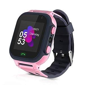 Openuye Niños Smartwatch, Smartwatch Phone con rastreador LBS, SOS, Pantalla táctil LED de 1,44 Pulgadas con cámara, Llamadas SIM, Despertador para niños y niñas, Compatible con iOS y Android(Rosado)