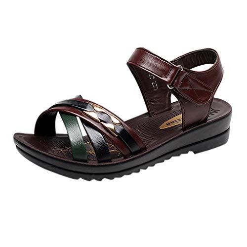 Damen Sommer Sandalen Elegant Offene Keilabsatz Mit Weichen Sohlen Romika rutschfeste Boho Plateausandaletten Schuhe Buckle Peep Toe Shoes Sommerschuhe