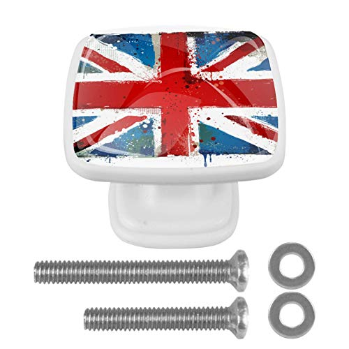 [4 pz] Manopole per armadio da cucina in tinta unita, con cassetti quadrati e maniglie per armadietti, con bandiera inglese