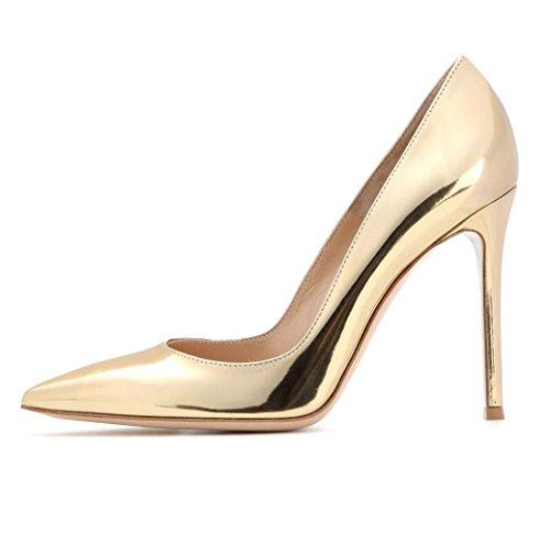 EDEFS Damen Schuhe mit Absatz Elegant High Heels Metallic Lack Gold Größe EU45