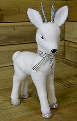 44cm White Indoor Christmas Snow white Reindeer Ornament Decoration with Diamante accessories