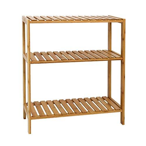 Kinbor Bamboo Rack Multifunctional Bathroom Kitchen Living Room Holder Plant Flower Stand Utility Storage Shelf (3-Tier)