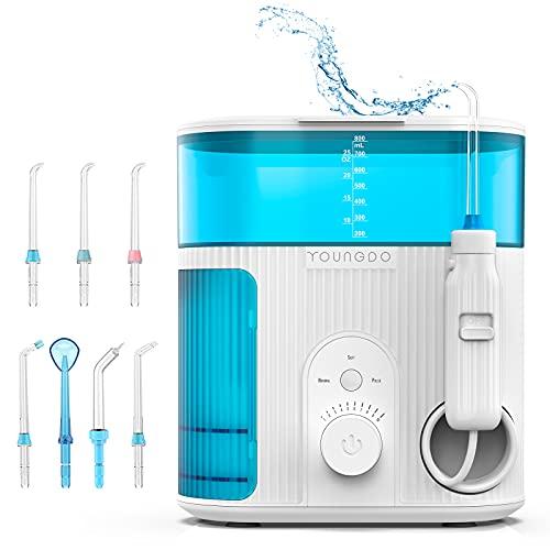 Irrigador Bucal Profesional con Esterilización UV,YOUNGDO Irrigador Dental con 7 Boquillas de Capacidad 800ML, Limpieza Dental 10 Ajustes de Presión Del Agua,Irrigadores Bucales IPX7 Impermeable