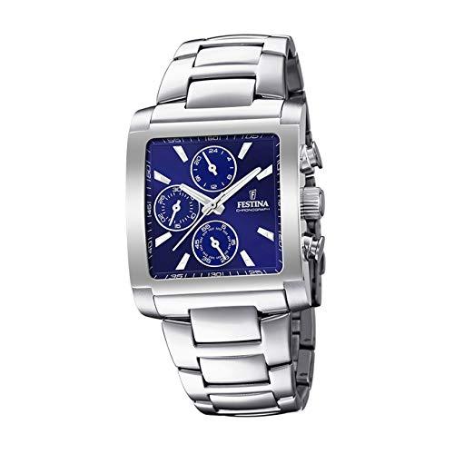 FESTINA Reloj Modelo F20423/2 de la colección Timeless Chronograph, Caja de 36,00/26,50 mm Azul con Correa de Acero para Caballero