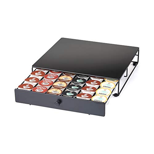 Nifty Coffee Pod Drawer – Black, Compatible with K-Cups, 36 Pod Pack Holder, Non-Rolling, Compact Under Coffee Pot Storage Sliding Drawer, Home Kitchen Counter Organizer