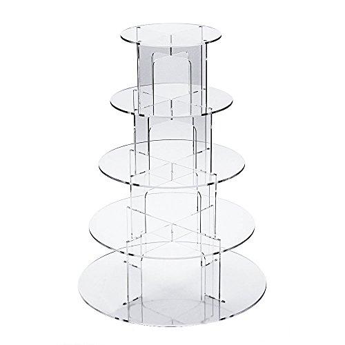 Fobuy Ständer für Muffins mit 5runden Ebenen, aus Acryl, ideal für eine Hochzeit, acryl, 5 tier