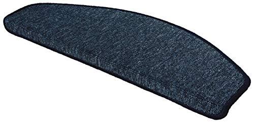 WOHNWOHL® Stufenmatten 15er Set I Treppen-Teppich I Treppenstufen Matten I Stiegenhaus I Wendeltreppe I antirutsch I Größe: 65x28 cm I in 3 I Farbe: Dunkelblau
